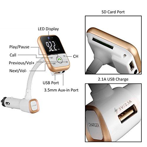 60%OFF CAHAYA Transmetteur FM Kit de Voiture Bluetooth Lecteur MP3 Appel Mains Libres avec USB Chargeur Allume-cigare Haut-parleur Slot AUX IN et Micro TF SD Carte pour Téléphone, iPod, PC, etc, Blanc
