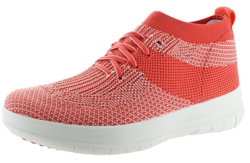 Fitflop Dames Uberknit Instapper Hoge Sneakers Hot Coral / Neon Blush