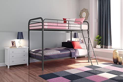 Dhp Twin Over Twin Bunk Bed With Metal Frame And Ladder Space Saving Design Silver Furniture Decor Amazon Com