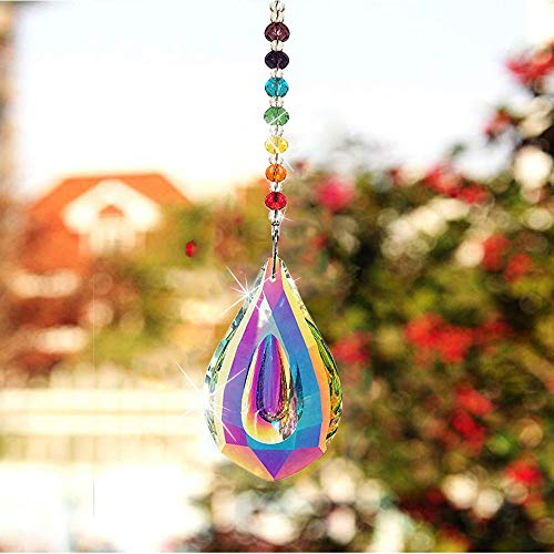 SunAngel Colorful Jewelry Crystals Pendants &Chandelier Suncatchers Prisms Hanging Ornament Prisms Rainbow Crystal Pendants (AB Color Pendant with Chain)