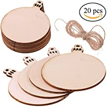 Supla 20 pcs Wood Tag Unfinished Wooden Round Blank Wood Discs Bulk with Holes for Crafts Centerpieces Christmas Wooden Tag