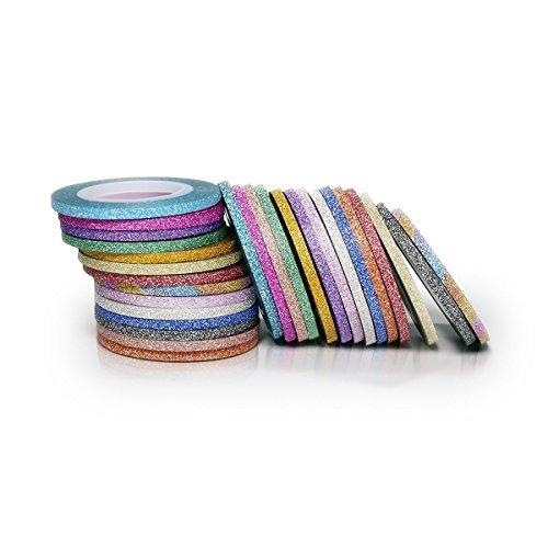 Stationary Tape - UeeSum 3mm Glitter Washi Tape, 28 Rolls of Skinny Masking Tape 14 Colors