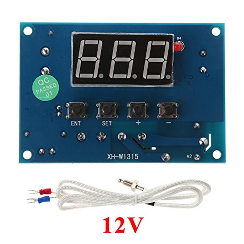 Qisuw Digital Thermostat K-Type Module 30℃ to +999℃ Controller Board AC 220V/DC 12/24V (DC 12V)