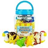 Boley 12-Piece Toddler Bucket of Zoo Jungle Animal Toys Features Lions, E Toys Elephants, Giraffe, Koala and More-Safari