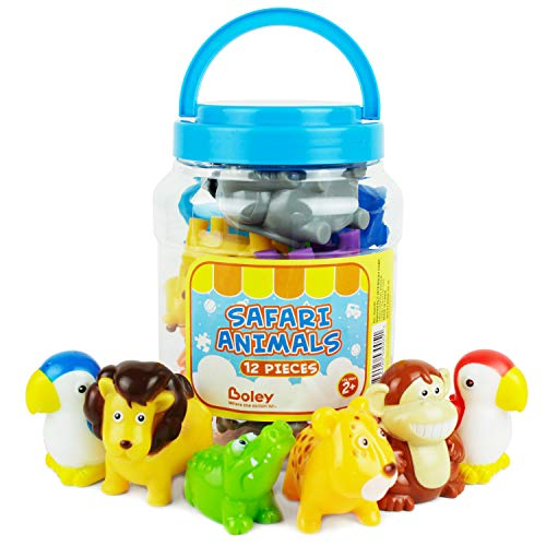 Boley 12-Piece Toddler Bucket of Zoo Jungle Animal Toys Features Lions, E Toys Elephants, Giraffe, Koala and - Jungle Bath Toy