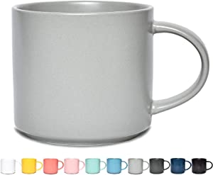 Bosmarlin Matte Ceramic Coffee Mug for Office and Home, 13 oz, Dishwasher and Microwave Safe (Light Grey, 1)