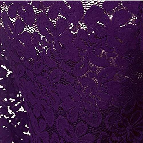 Doinshop Femmes Cru Cocktail Cou Bateau À Manches Longues En Dentelle Florale Robe Swing Formelle Violet