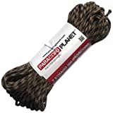 Paracord Planet 550 lb, 100' Foot Hank, Brown Camo Parachute Cord. Also known as paracord rope, parachute rope, utility cord, tactical cord, and military cord. USA made to provide durability and strength.