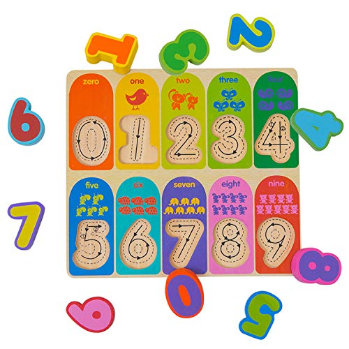 (Wondertoys 10 Pieces Number Puzzles Board Chunky Wooden Toy Preschool Early Educational Game for 1 2 Year Olds Toddlers Gifts)