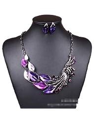 Qiyun Purple Peacock Enamel Festoon Bib Necklace Stud Earrings Set