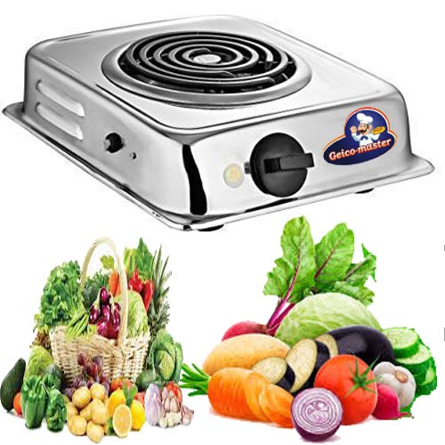 Geico-master Double Heavy Duty Stainless Steel 2000 Watts Electric Coil Cooking Stove Electric Cooking Heater Induction Cooktop G Coil Hot Plate Stove Works With All Cookwares (Silver)