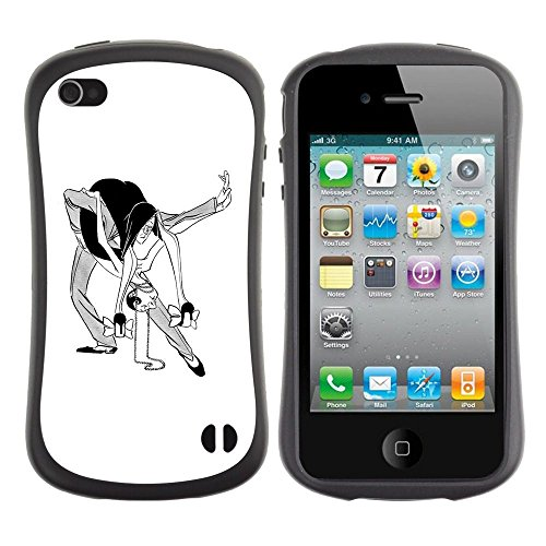 Apple iPhone 4 / iPhone 4S ( Dance Man Woman Caricature Funny Art )