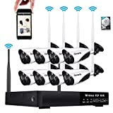 Wireless Security Camera System with Night Vision 8CH 960P HD Surveillance CCTV NVR Video Recorder Kit 8Pcs 720P Wifi IR Outdoor Bullet IP Cam, 3.6mm Lens, P2P Remote Viewing, 1TB HDD