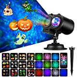 COMLIFE Halloween Decoration Projector Lights with 12 Slides 10 Colors for Holidays, 2 in 1 Decorative Water Wave Light Waterproof Outdoor Indoor Landscape Lights for Christmas Wedding Birthday Party