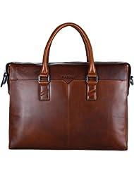 Banuce Vintage Leather Briefcase for Men Slim Tote Business 2way Messenger Laptop Bag Organizer