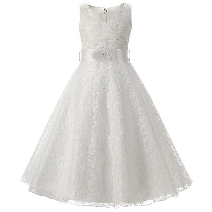 d37cea3a5 Amazon.com  Joopee White Dresses for Flower Girls Princess Dress ...