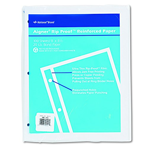 3 Reinforced Laser Hole Punched - National 20121 Rip Proof 20-lb, Reinforced Filler Paper, Unruled, 11 x 8-1/2, White (Pack of 100 Sheets)