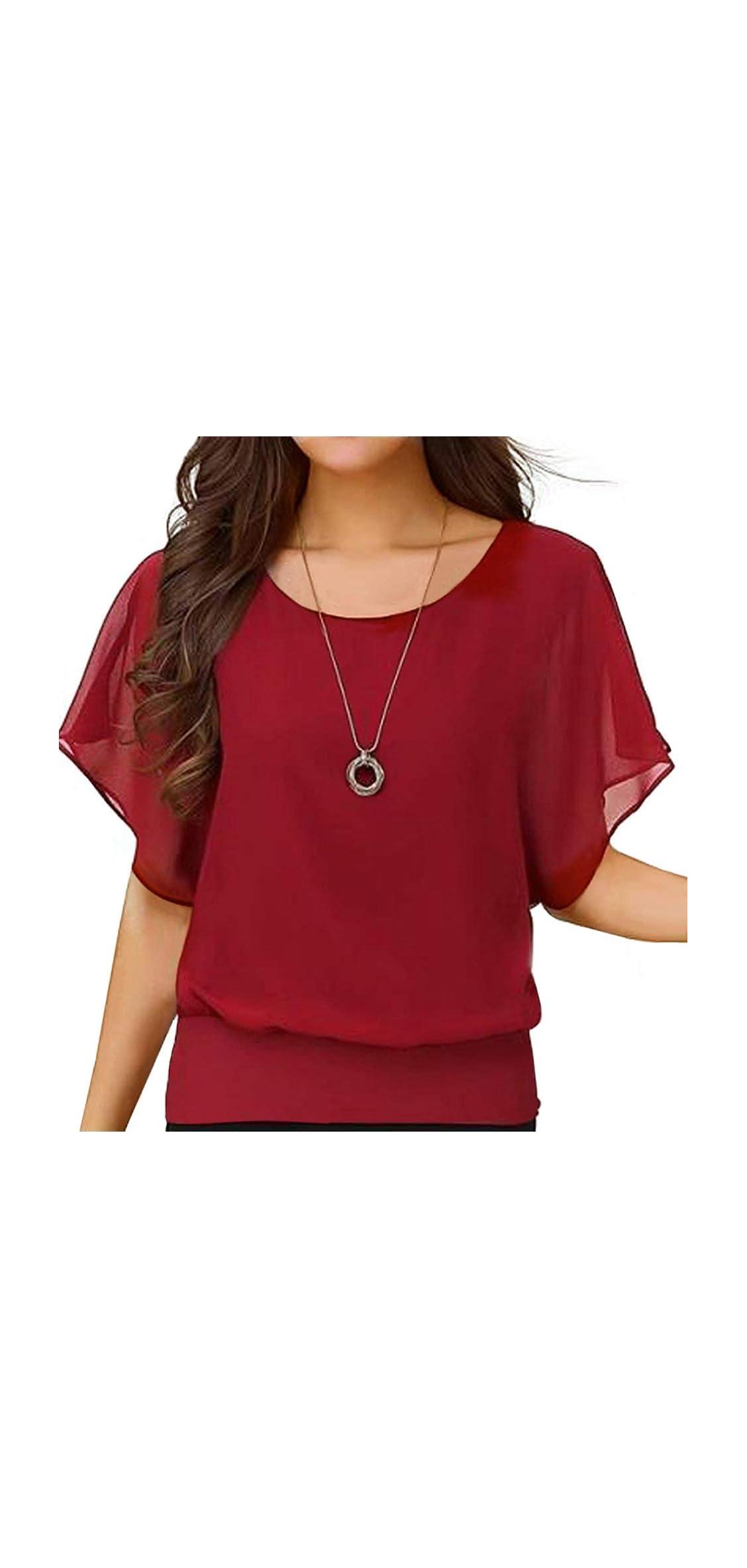 Women's Loose Casual Short Sleeve Chiffon Top T-shirt