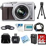 Panasonic LUMIX LX100 Integrated Leica DC Lens Silver Camera 64GB Filter Kit Bundle - Includes Camera, 64GB Card, Bag, Filter Kit, Battery, Card Reader, Battery Charger, HDMI to Micro-HDMI AV Cable, Mini Tripod, Screen Protectors, and Micro Fiber Cloth