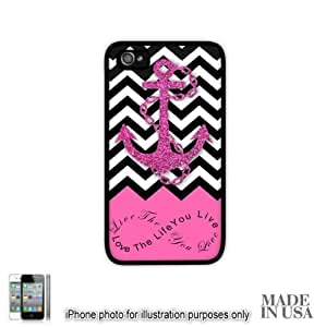 Live the Life You Love Infinity Quote - Pink Black White Chevron with Anchor iPhone 4 4S Case - BLACK RUBBER by Unique Design Gifts [MADE IN USA]
