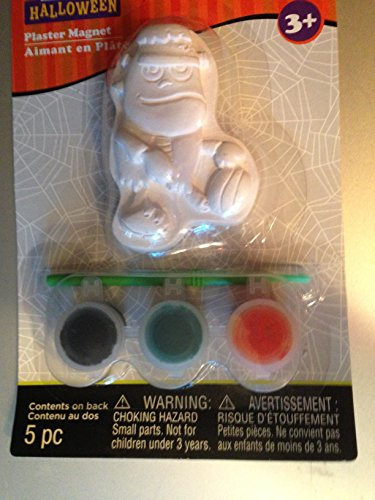 3 inch x 2 inch x 1/2 inch Halloween plaster magnet with 3 paint pots + brush by Creatology