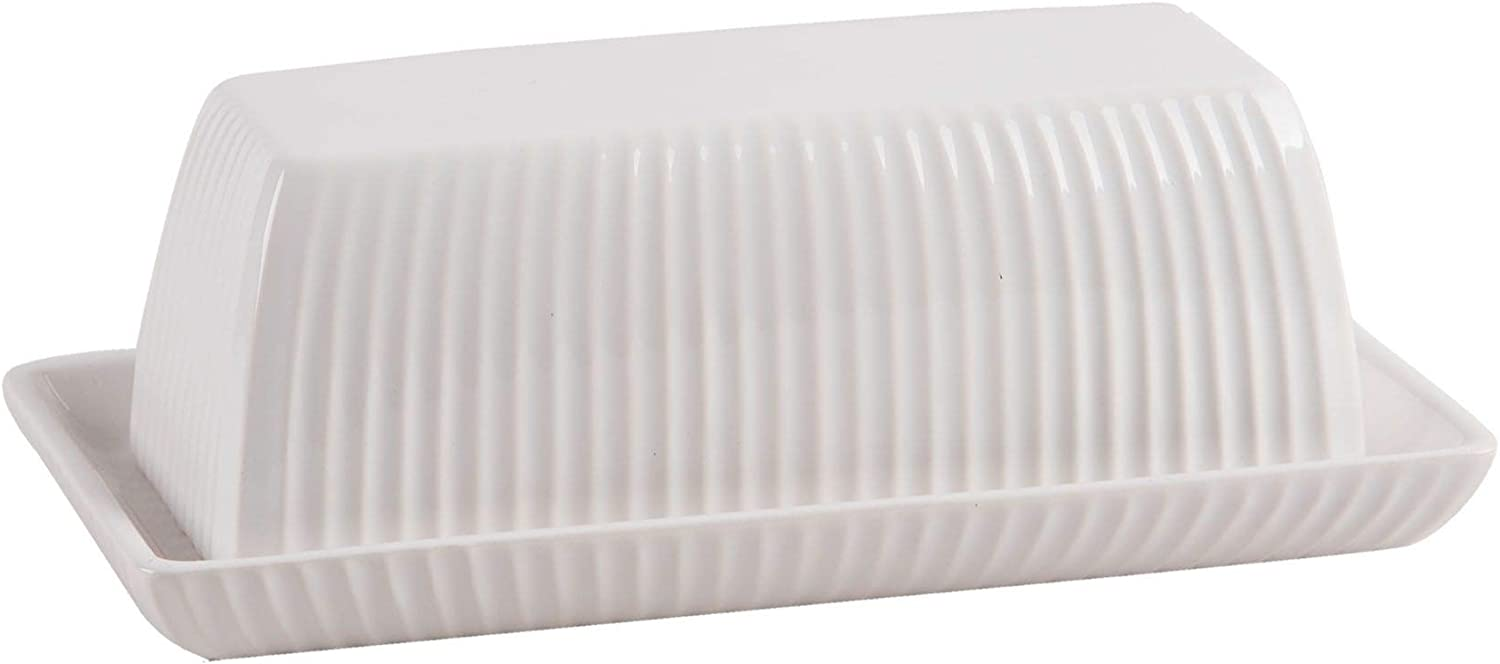Home Essentials 60903 Stripes Embossed Covered Butter Dish, 7-inch Length