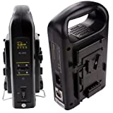 Rolux New 2 Channel Sony V-mount V Lock Li-ion battery Charger Power Supply for Camera