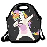 Unicorn Cute Dabbing Funny Dab Dance Gift Waterproof Lunch Tote Bag Insulated Reusable Picnic Lunch Boxes For Men Women Kids
