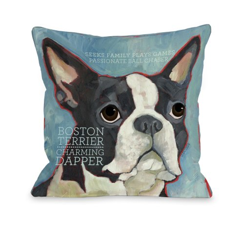 One Bella Casa Boston Terrier 1 Throw Pillow, 18 by 18-Inch from One Bella Casa