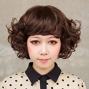 Amazon.com : Mature temperament valgus curly hair wig simulation mom ...