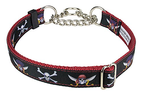 Country Brook Design Jolly Roger Ribbon Half Check Dog Collar - Large