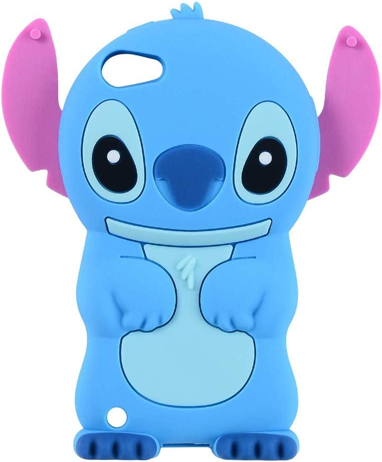 iPod Touch 7 Case, iPod Touch 6 Case, iPod Touch 5 Case, 3D Cute Cartoon Blue Alien Animal Teen Girls Women Kids Soft Rubber Silicone Shockproof Case Cover for iPod Touch 7th 6th 5th Generation (Blue)