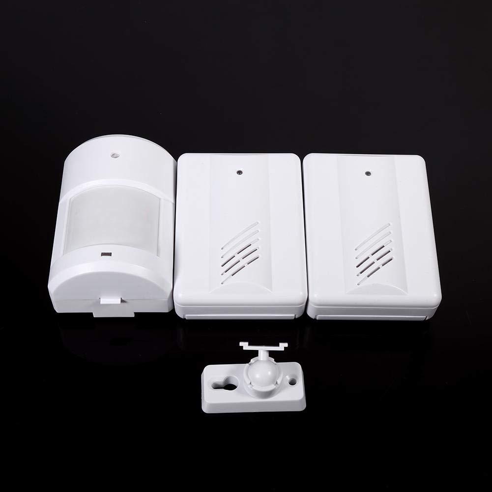 Asixx Sonnette sans Fil 1 r/écepteur + 2 /émetteurs Sonnette avec D/étecteur de Mouvement Alarme de Sonnette Sonnette de Porte en Plastique Sonnette de Bienvenue pour Maison Garage Passage