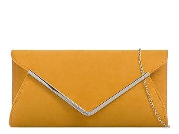 54fac66ab2be2 NEU Faux Wildleder Damen silberfarbener Rand Clutch Silber Kette Band  Umschlag Handtasche Portemonnaie - Ginger