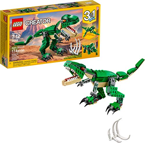 LEGO Creator Mighty Dinosaurs 31058 Build It Yourself Dinosaur Set Create a Pterodactyl Triceratop and T Rex Toy 174 Pieces