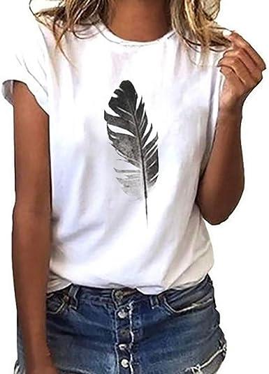 Camisetas Mujer de Manga Corta Tefamore Moda Cuello Redondo Tops Casual Hoja Impresión Camisas Sueltas Blusas: Amazon.es: Ropa y accesorios