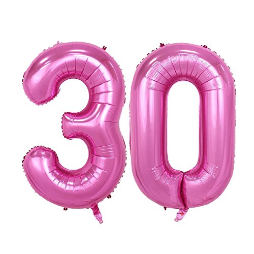 40inch Pink Number 30 Jumbo foil Helium Balloons for Bithday Party Festival Decorations Photo Props (pink -