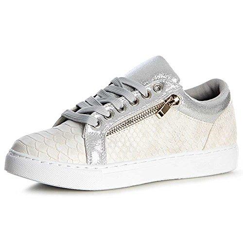 Chaussures Sport Sneaker De Topschuhe24 Femmes Argent q1fU16P