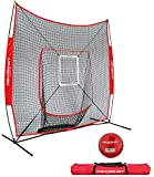 PowerNet DLX 7x7 Baseball and Softball Practice Net (Bundle with Strike Zone and Training Ball) + LIFETIME WARRANTY
