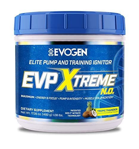 Evogen Nutrition EVP Xtreme NO | Arginine Nitrate, Beta-Alanine, Citrulline Pre-Workout, Nitric Oxide, Pumps | 40 Servings | Tropic Thunder