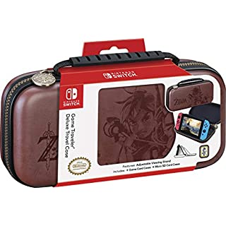 Officially Licensed Nintendo Switch Deluxe Zelda Link Travel Case – Premium Hard Case Made with Koskin Saddle Leather Embossed with Zelda Breath of The Wild Art 2 Game Cases