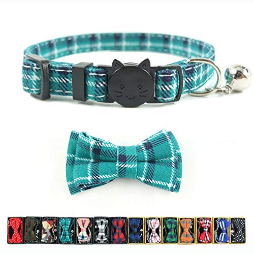Cat Collar Breakaway with Bell and Bow Tie, Plaid Design Adjustable Safety Kitty Kitten Collars(6.8-10.8in) (Cyan-Blue)