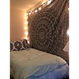 Handicrunch Popular Handicrafts Black & White Tapestries Hippie Mandala Intricate Floral Design Indian Bedspread Tapestry 84x90 Inches,(215cmsx230cms)
