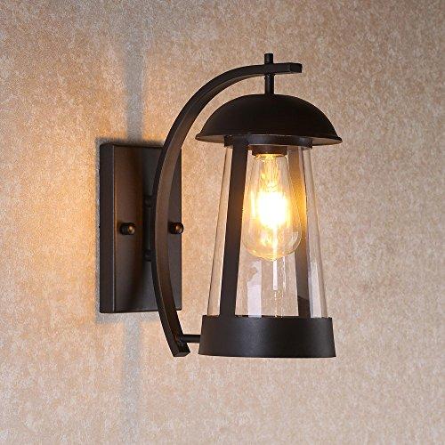 Modern Single Light Cone (KunMai Modern Black Single Light Cone-Shaped Lantern Metal Indoor Outdoor Wall Sconce with Clear Glass Shade)