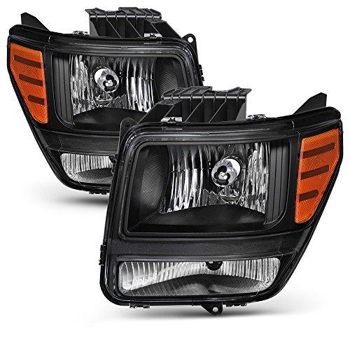 VIPMOTOZ Black Housing OE-Style Headlight Headlamp Assembly For 2007-2011 Dodge Nitro, Driver & Passenger Side (Headlight Assembly Nitro Dodge)
