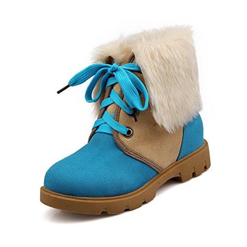 AllhqFashion Mujeres Tacón Medio Esmerilado Caña Baja Colores Surtidos Cordones Botas Azul