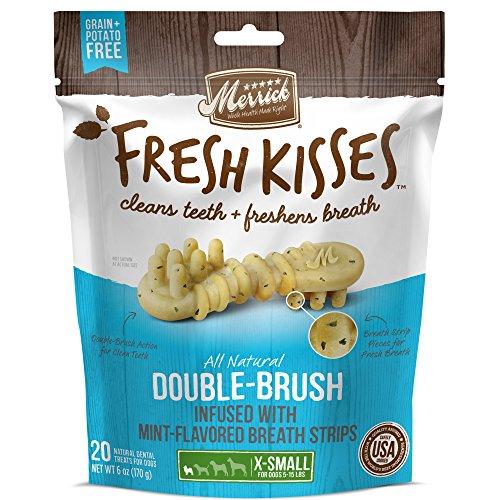 Fresh Breath Mint (Merrick Fresh Kisses Mint Breath Strips Extra Small Brush Dental Dog Treat - Small Bag (20 ct))