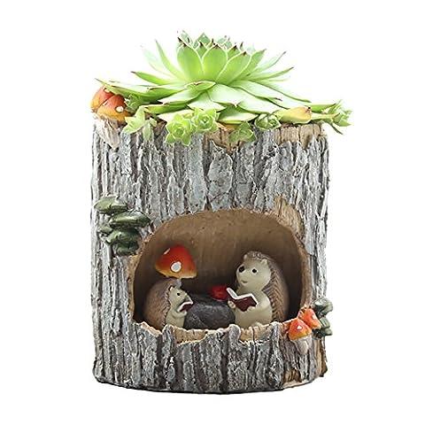 Xinhuaya Planter Pot,Little Child Rumor Hedgehog Pattern Watering Pot Home Decoration Pots Tiny Flower Plant Containers For Succulent, Cactus ,Cactus Aloe,Vera (Large Flat Planter)