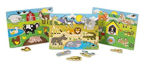 Melissa & Doug World of Animals Wooden Peg Puzzles Set - Pets, Farm, and Safari - Peg Puzzle Set