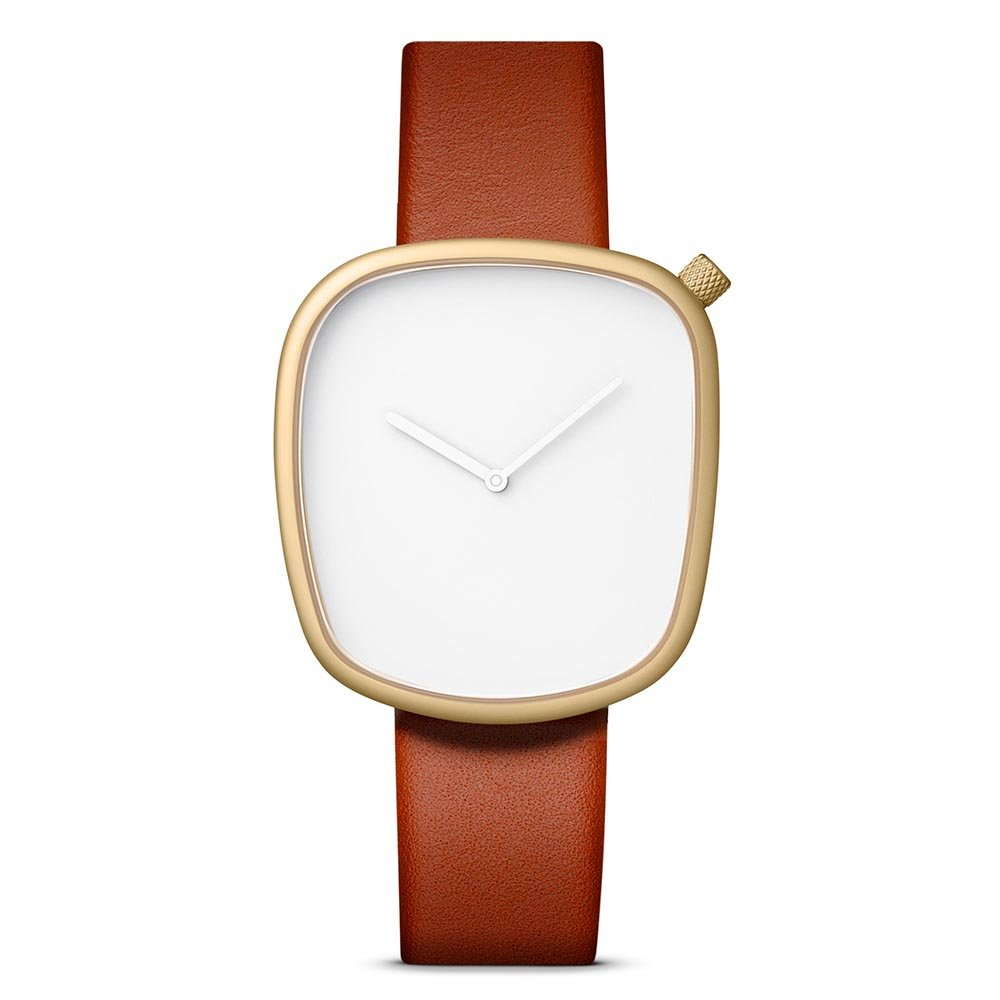 Bulbul Pebble 05 Watch, Analog Display Swiss Quartz Watch, Brown Italian Leather Band, Assymetric 40mm Case